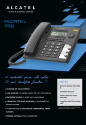 Alcatel T-56 Black- Corded Landline Phone